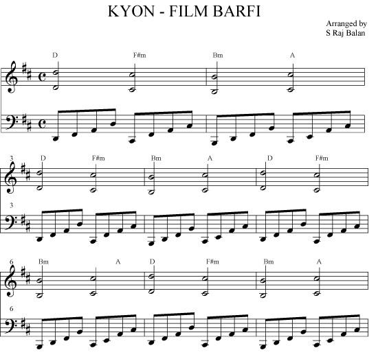Violin violin chords for tum hi ho : KYON NA HUM TUM BARFI SHEET MUSIC PIANO | Bollywood sheet music books